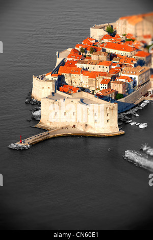 Arial view of Dubrovnik old town port - Croatia - Stock Photo