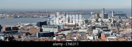Panoramic Liverpool city centre skyline - Stock Photo