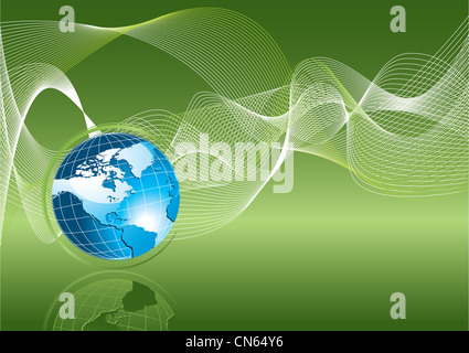 Blue earth on green background, ecology concept - Stock Photo