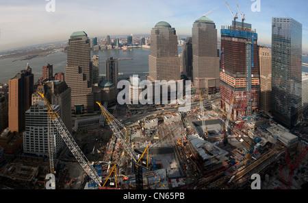 aerial photograph World Trade Center construction site, Manhattan, New York City - Stock Photo