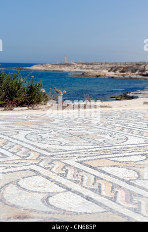 Sabratha. Libya. View of the beautiful mosaics of the Seaward Baths which overlooks the sea and dates from the late - Stock Photo