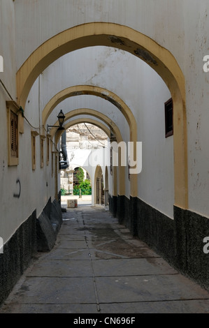Tripoli. Libya. View of one of the arched labyrinthine of quiet lanes that are found inside the Medina. Originating - Stock Photo