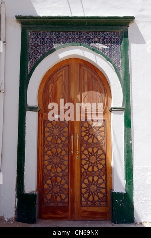 Tripoli. Libya. View of one of the various ornate building doorways that are found throughout the Medina. Originating - Stock Photo