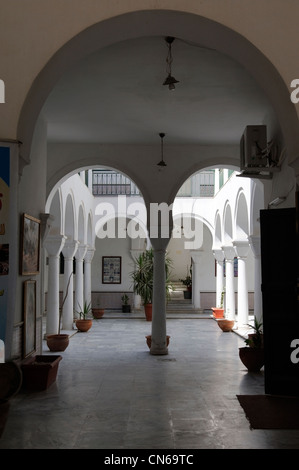 Tripoli. Libya. View from the entrance hall towards the arches arcade and columns of main courtyard of the Yahzarkom - Stock Photo