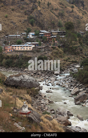 Nepali Himalayan village shyabrubesi shyabru besi - Stock Photo