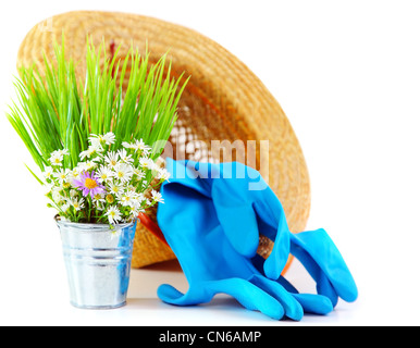 Gardening tools with fresh flowers isolated on white background, organic garden concept - Stock Photo