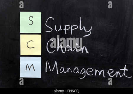 Chalk drawing - SCM, supply chain management - Stock Photo
