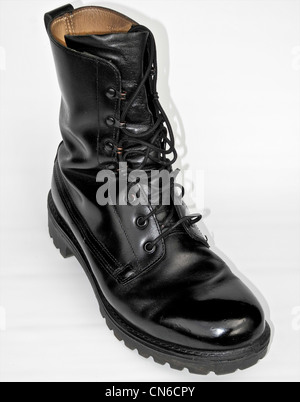 A well cared for military boot - army polished - Stock Photo