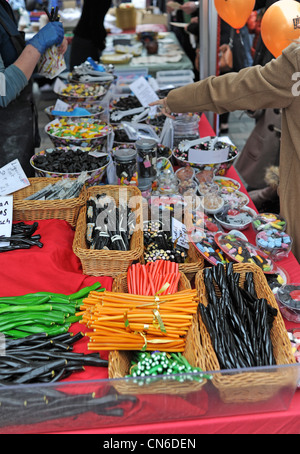 Liquorice sticks and sweets for sale at a stall at the Brighton and Hove City Food and Drink Festival over the Easter - Stock Photo