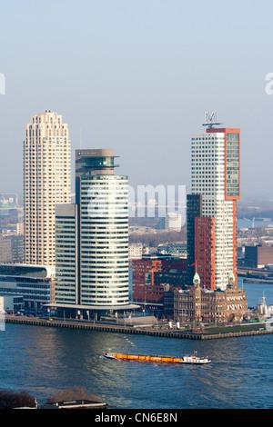 Rotterdam skyline in winter - Stock Photo