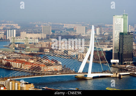 View the Euromast on Rotterdam city and the Erasmus bridge on a clear winter day. - Stock Photo