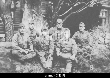 A photograph of Imperial Japanese Army soldiers serving on New Georgia, presumably taken in Japan before their deployment - Stock Photo