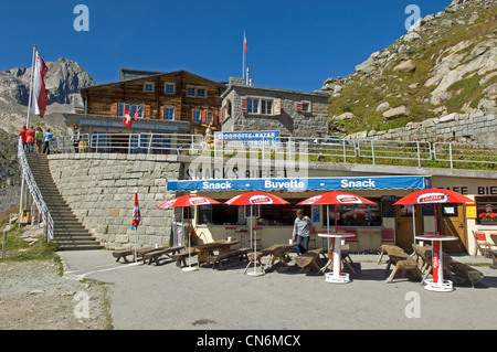 Belvedere overlooking Rhonegletscher on the Furka Pass in Switzerland - Stock Photo