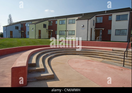 Public space on a new build social housing project - Stock Photo