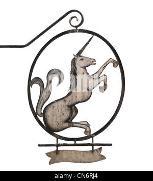 Old medieval sign of tavern, pub, bar or shop depicting unicorn. Isolated on white background, place for text under - Stock Photo