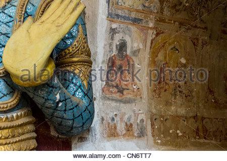 Detail at the Ananda Temple in Bagan, Myanmar, (Burma) - Stock Photo