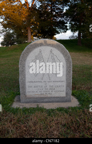 Memorial stone at Petersburg National Battlefield Eastern Front in Virginia - Stock Photo