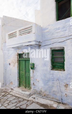 Facade of a typical Cycladic house in Hora, on the Greek Cyclade island of Amorgos. - Stock Photo