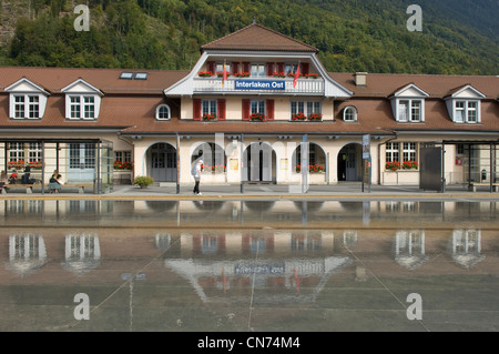 Ost station in Interlaken in the Canton of Bern in Switzerland - Stock Photo