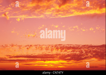 Sunset sky background in yellow and pink hues. - Stock Photo