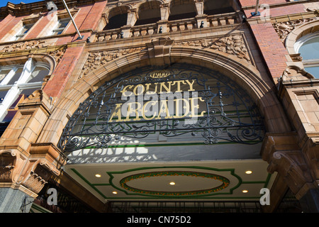 Entrance to the County Arcade in the Victoria Quarter, Briggate, Leeds, West Yorkshire, England - Stock Photo