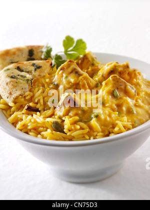 Chicken Korma Curry,  pilau rice Stock Photo