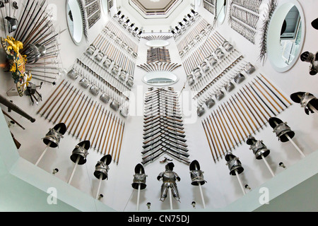 Hall of Steel in the main stairwell, The Royal Armouries Museum, Leeds, West Yorkshire, England - Stock Photo