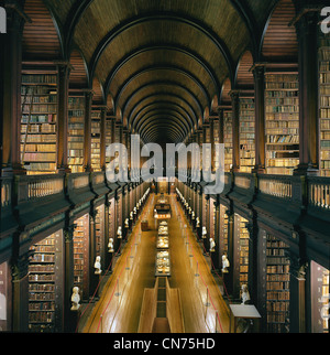 Library at Trinity College, Dublin - The Long Room - a beautiful, famous and historic old library in Ireland - Stock Photo