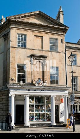 Traditional shop front in Argyle Street, Bath, England, UK - A H Hale Chemist shop - Stock Photo