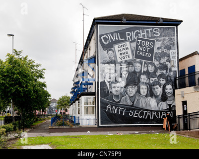 A mural in Derry depicting events during the Troubles in Northern Ireland - Stock Photo