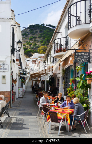 Street cafe in the old town, Mijas, Andalucia, Spain - Stock Photo