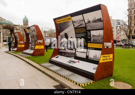 Titanic storyboards on display outside Belfast City Hall - Stock Photo