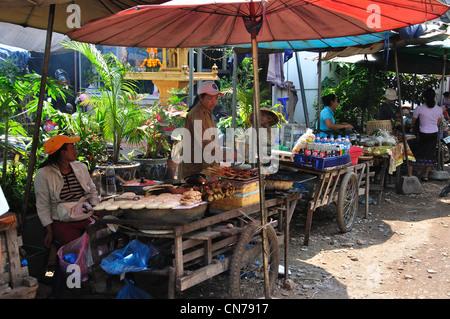 Cooked food stalls, Talat Sao (Morning Market), Avenue Lane Xang, Vientiane, Vientiane Prefecture, Laos - Stock Photo