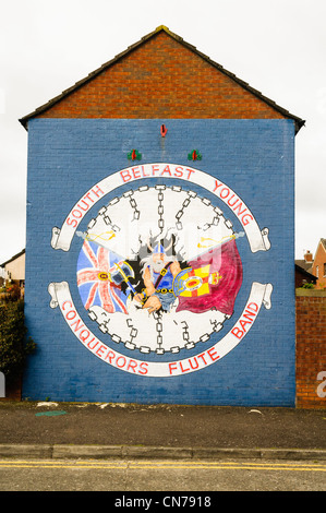 South Belfast Young Conquerors Flute Band mural, Donegall Pass, Belfast - Stock Photo