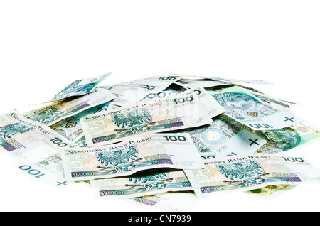 Lots of Polish money - 100pln banknotes, isolated on white background - Stock Photo
