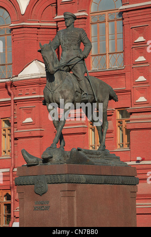 Monument to World War II Soviet Marshal Georgy Zhukov (1896-1974) at Manege Square in Moscow, Russia - Stock Photo