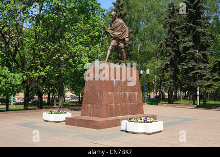 Monument to the preeminent leader of Indian nationalism Mahatma Gandhi (1869-1948) in Moscow, Russia - Stock Photo