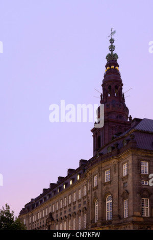 Ornate tower overlooking building - Stock Photo