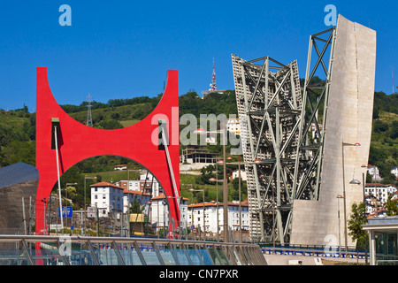 Spain, Biscaye, Spanish Basque Country, Bilbao, the Salve bridge with Les Arches Rouges artpiece by French artist Daniel Buren