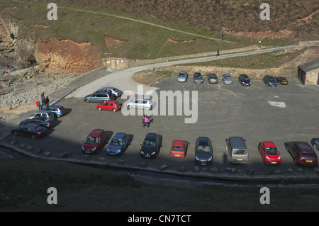 The car park next to the beach at St Agnes, Cornwall, UK - Stock Photo