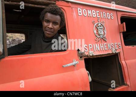 Cape Verde, Santo Antao island, former fire truck in towing on the coastal road between big Ribeira and Ponta doh - Stock Photo