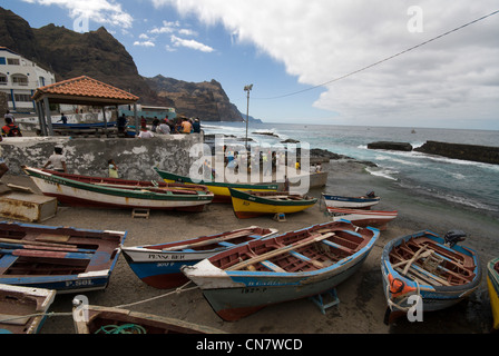 Cape Verde, Santo Antao island, Ponta do Sal, fishing port - Stock Photo