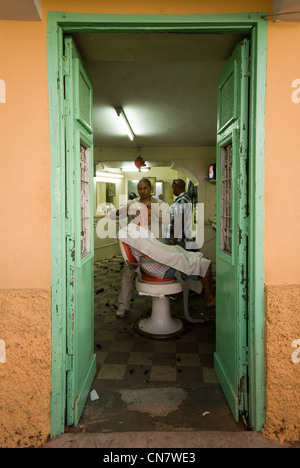 Cape Verde, Sao Vicente island, Mindelo, hairdresser - Stock Photo