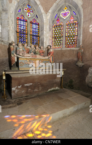 France, Doubs, Baume les Dames, Chapel of the Holy Sepulchre, built in 1540, the Entombment, the statue of St Acomb, - Stock Photo