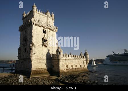 Belém Tower, Torre de Belém, Lisbon, Portugal - Stock Photo