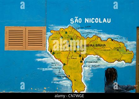 Cape Verde, Sal island, Palmeira, mural representing the island of Sao Nicolau - Stock Photo