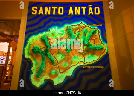 Cape Verde, Sao Vicente island, Mindelo, plan of the island of Santo Antao in a bar of Mindelo - Stock Photo