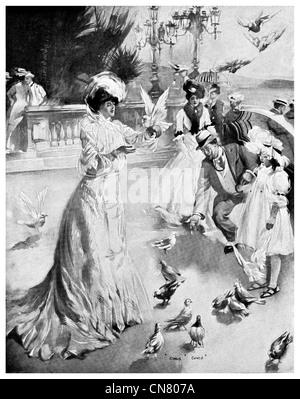 feeding pigeons in park 1900