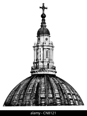 St Pauls Cathedral Dome roof London - Stock Photo