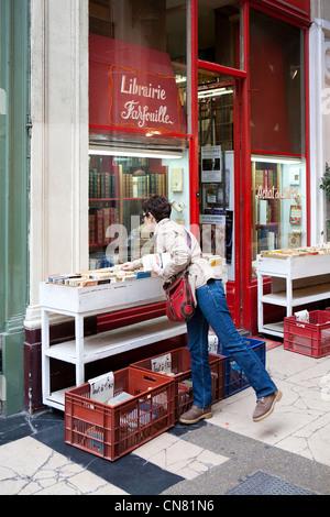 France, Paris, Passage Verdeau, Librairie Farfouille bookstore - Stock Photo